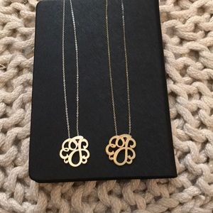 """""""J"""" monogram necklaces in silver & brushed gold"""